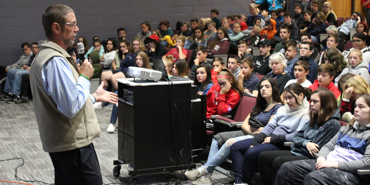 Michael Needham talks to students