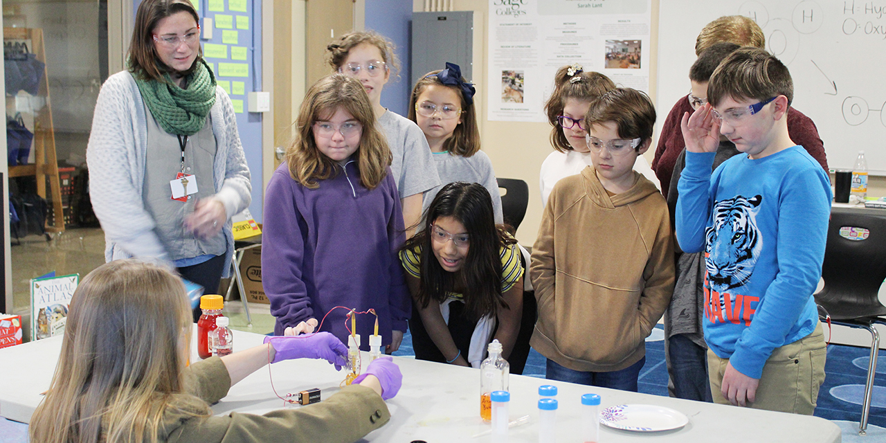 Students watch experiments