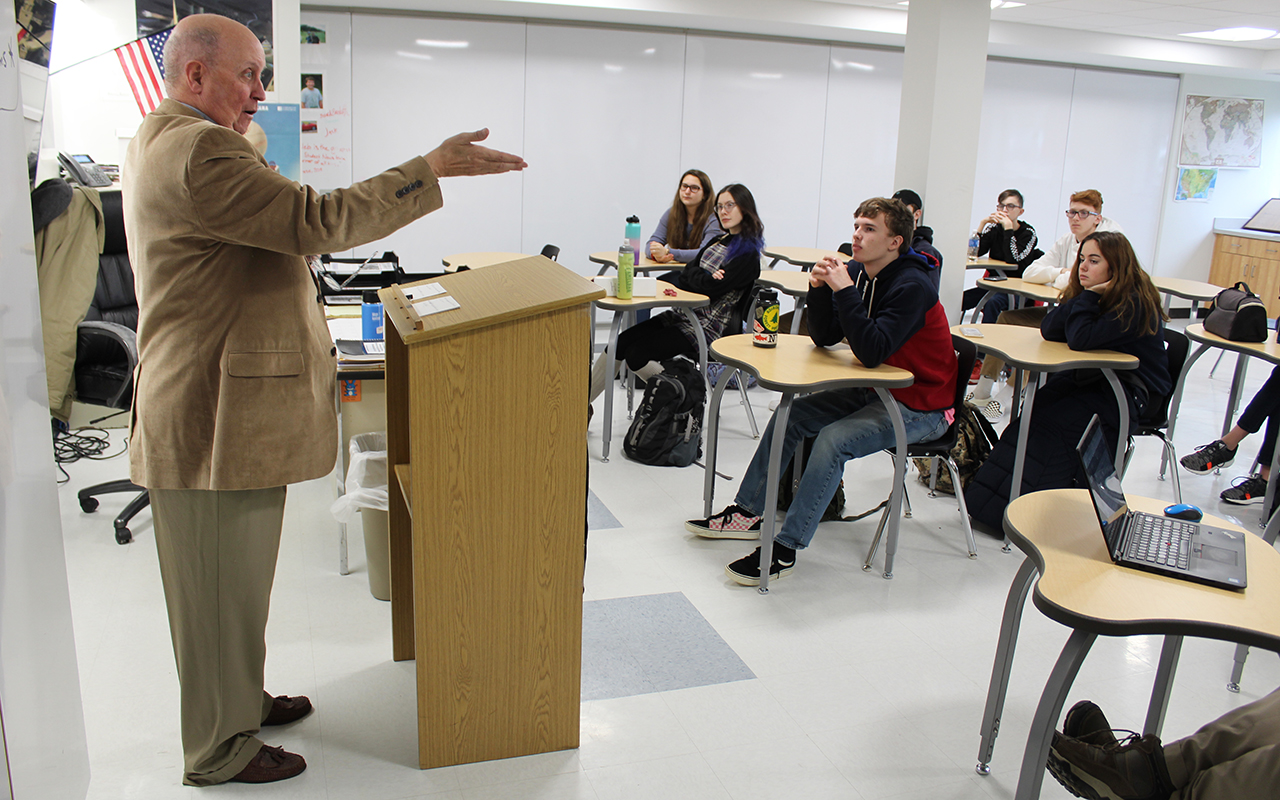 Historian J.J. Jennings speaks to students