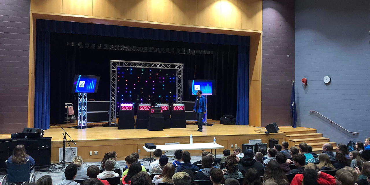 Students in vaping prevention game show