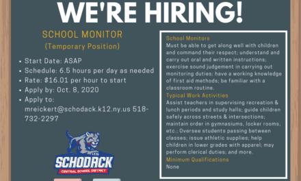 We're Hiring: Temporary School Monitor