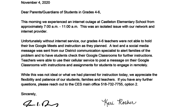 Grades 4-6 Parent Letter Nov. 4