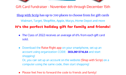 Gift Card Fundraiser For Class of 2022