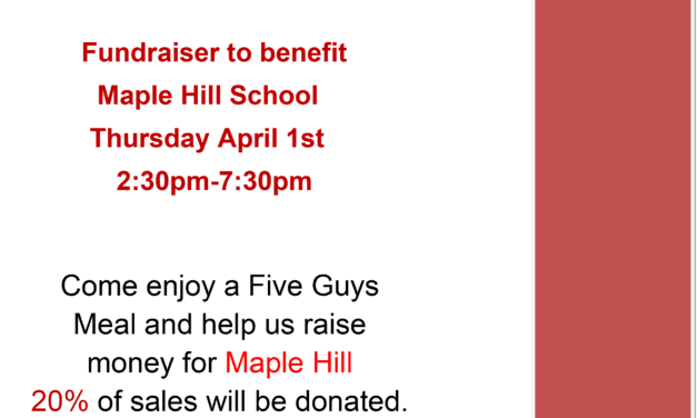 Five Guys Fundraiser on April 1