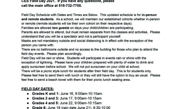 Field Day Updates for K-6